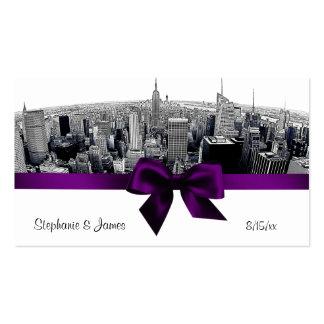 NYC grabó al agua fuerte tarjetas púrpuras del Tarjetas De Visita