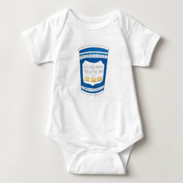Coffee Themed NYC Greek Diner Coffee Cup Happy to Serve You Baby Bodysuit