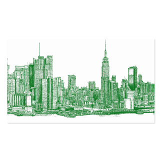 NYC green sketch Business Cards