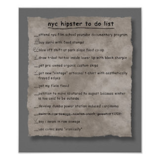 NYC Hipster To Do List Poster