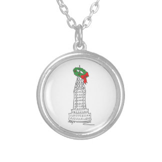 NYC Holiday Wreath Skyscraper Christmas Necklace