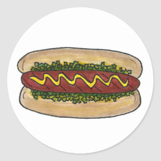 NYC Hot Dog Bun Mustard Relish Fast Food Classic Round Sticker