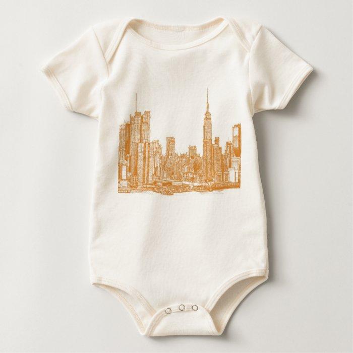NYC in orange Baby Bodysuit