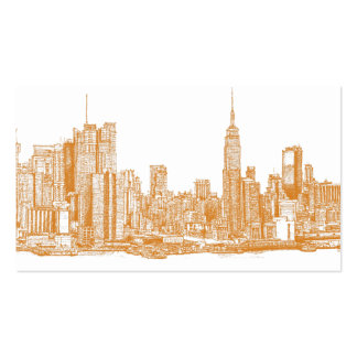 NYC in orange Business Card Template