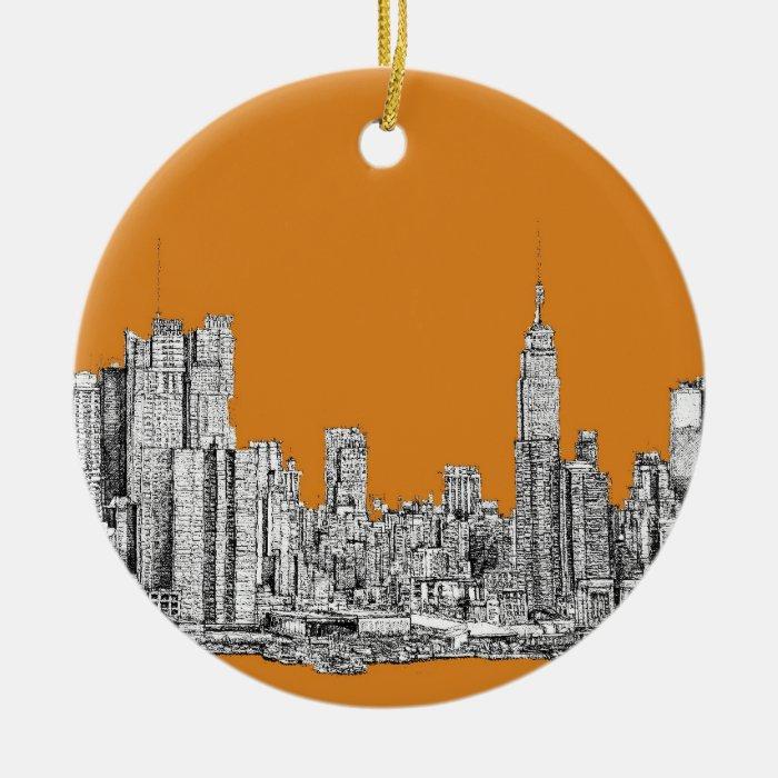 NYC In orange Ceramic Ornament