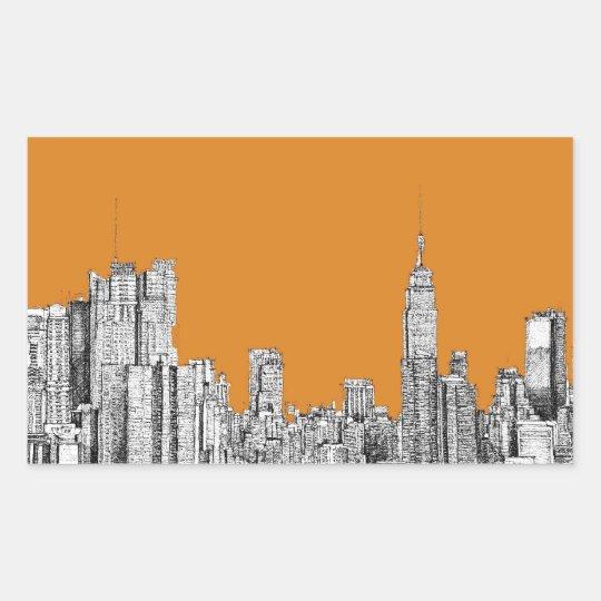 NYC In orange Rectangular Sticker