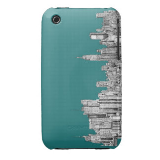 NYC in turquoise green iPhone 3 Cover