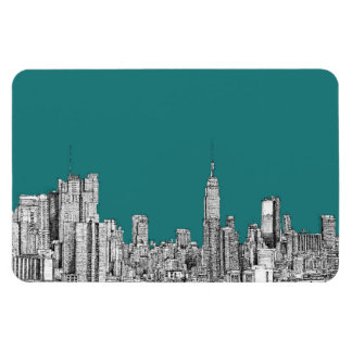 NYC in turquoise green Vinyl Magnets