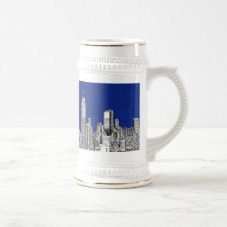 NYC ink royal blue 18 Oz Beer Stein