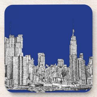 NYC ink royal blue Beverage Coasters