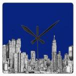 NYC ink royal blue Square Wall Clock