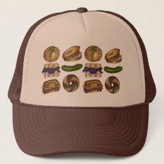 NYC Jewish Deli Bagel Knish Blintz Reuben Pickle Trucker Hat