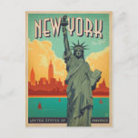 """NYC - Lady Liberty Postcard<br><div class=""""desc"""">Anderson Design Group is an award-winning illustration and design firm in Nashville,  Tennessee. Founder Joel Anderson directs a team of talented artists to create original poster art that looks like classic vintage advertising prints from the 1920s to the 1960s.</div>"""