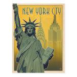 NYC - Lady Liberty - Yellow Postcard