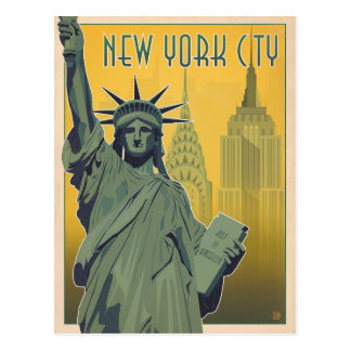 NYC - Lady Liberty - Yellow Postcard