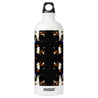 NYC Landmarks Purple Light Groove Futurism Water Bottle