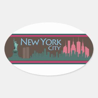 NYC Liberty Skyline chocolate Oval Sticker