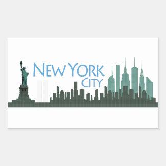 NYC Liberty Skyline Rectangular Sticker