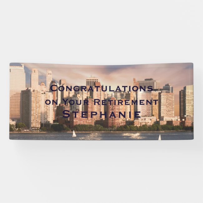 NYC Lower Manhattan Skyline BIG Retirement Banner