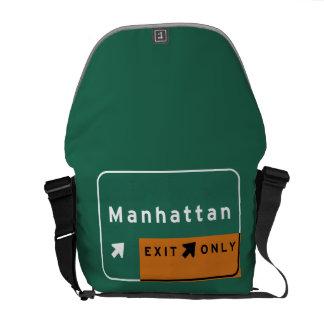 NYC Manhattan Exit Interstate Highway Freeway Road Messenger Bag