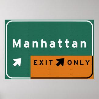 NYC Manhattan Exit Interstate Highway Freeway Road Poster