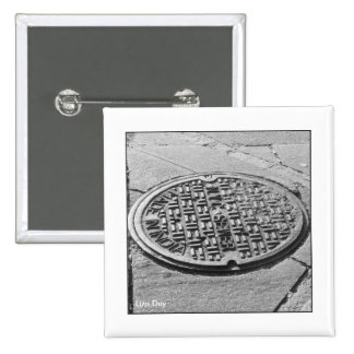NYC Manhole Cover Square Button
