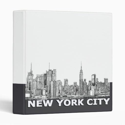 NYC monochrome skyline text 3 Ring Binders
