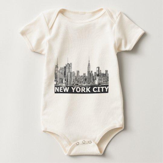 NYC monochrome skyline text Baby Bodysuit