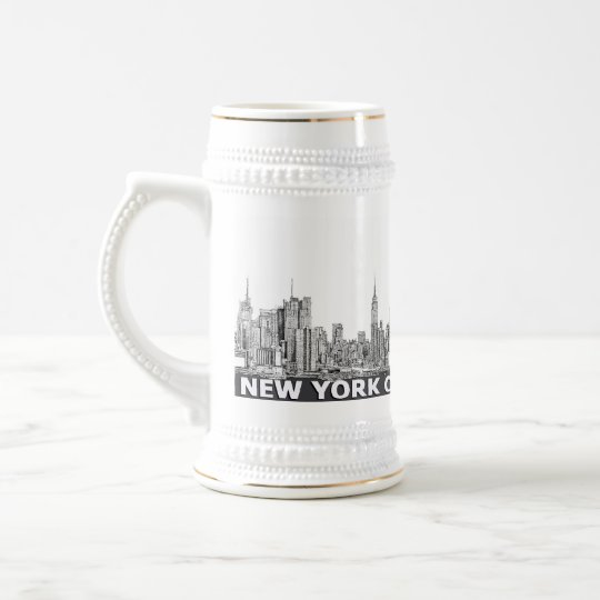 NYC monochrome skyline text Beer Stein