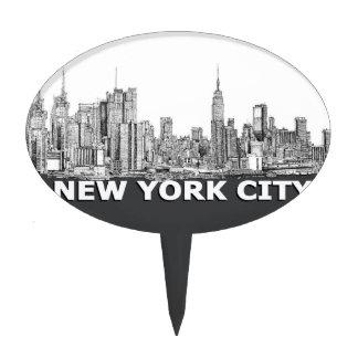 NYC monochrome skyline text Cake Topper