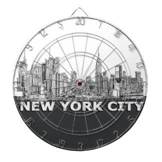 NYC monochrome skyline text Dart Board