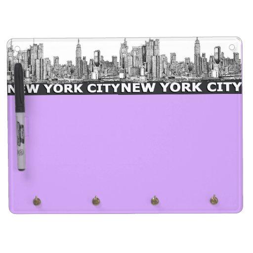 NYC monochrome skyline text Dry-Erase Whiteboard