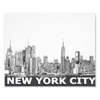 NYC monochrome skyline text Photo Print