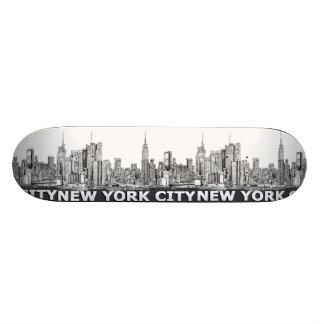 NYC monochrome skyline text Skate Board