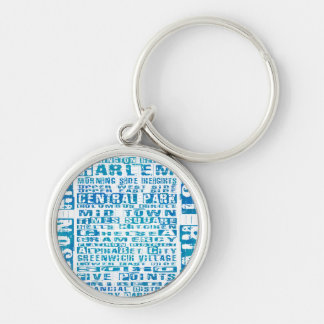 NYC Neighborhoods Blue Keychain