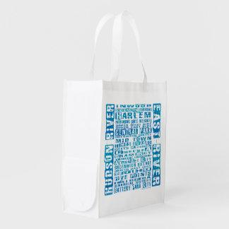 NYC Neighborhoods Blue Reusable Grocery Bag