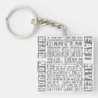 NYC Neighborhoods Gray Keychain