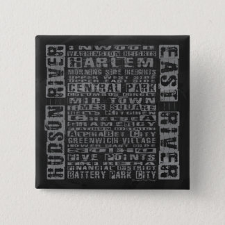 NYC Neighborhoods Gray Pinback Button