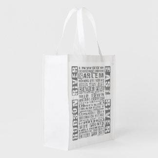NYC Neighborhoods Gray Reusable Grocery Bag