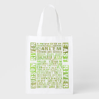 NYC Neighborhoods Green Reusable Grocery Bag