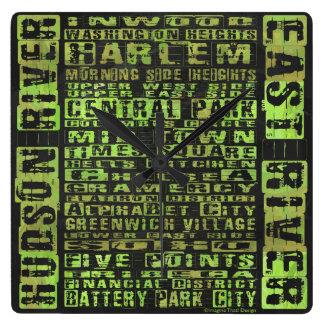 NYC Neighborhoods Green Square Wall Clock