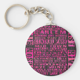 NYC Neighborhoods Hot Pink Keychain