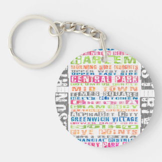 NYC Neighborhoods Rainbow Keychain