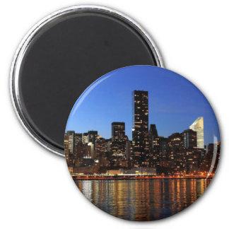 NYC New York City Manhattan Night 2 Inch Round Magnet