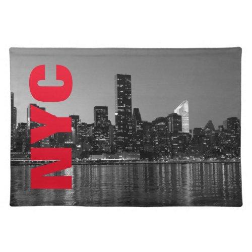 NYC New York City Manhattan Night Black White Cloth Placemat