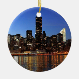 NYC New York City Manhattan Night Ceramic Ornament