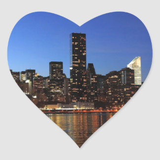 NYC New York City Manhattan Night Heart Sticker