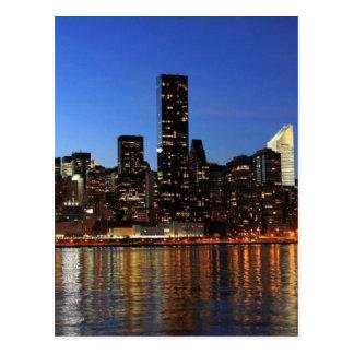 NYC New York City Manhattan Night Postcard