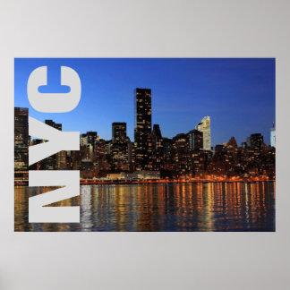 NYC New York City Manhattan Night Poster