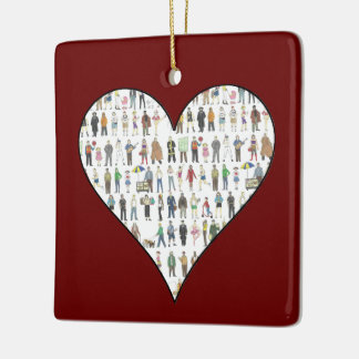NYC New York City People Red Heart Ornament